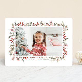 Pine + Berries Border Holiday Photo Cards