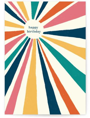 Vintage Sunburst Individual Birthday Greeting Cards