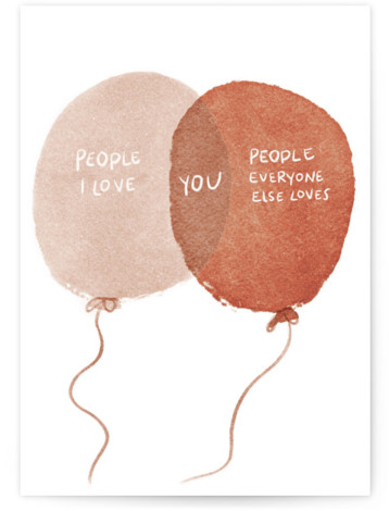 Venn Balloons Individual Feminine Birthday Greeting Cards