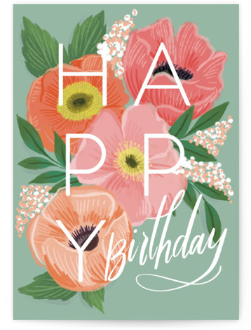 birthday poppies Individual Feminine Birthday Greeting Cards