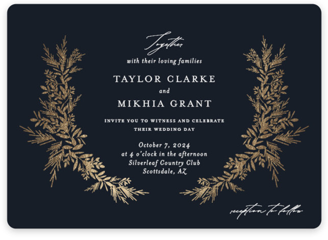 etched wreath Foil-Pressed Wedding Invitations