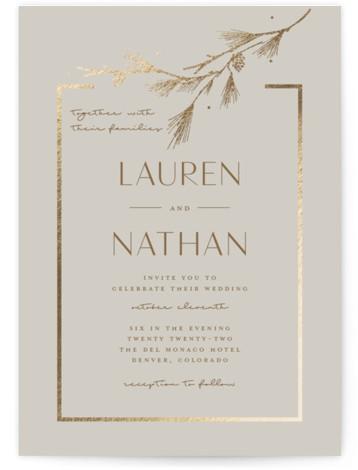 Burnished Foil-Pressed Wedding Invitations