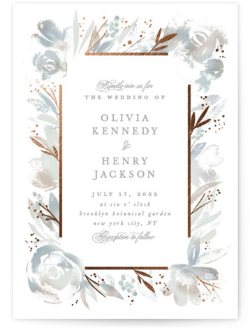 Blooming border Foil-Pressed Wedding Invitations