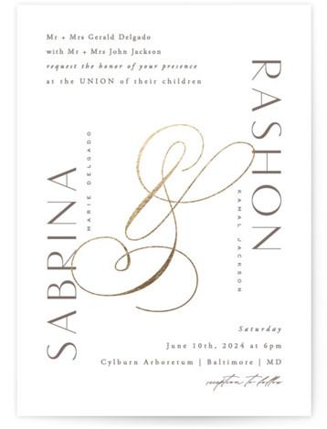 Gilded Ampersand Foil-Pressed Wedding Invitations