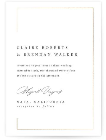 Gilded Border Foil-Pressed Wedding Invitations