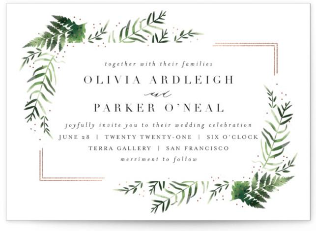 Framed in Ferns Foil-Pressed Wedding Invitations