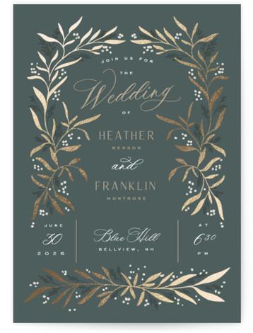 Gilded Foil-Pressed Wedding Invitations