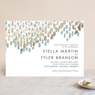 Modern Dash Foil-Pressed Wedding Invitations