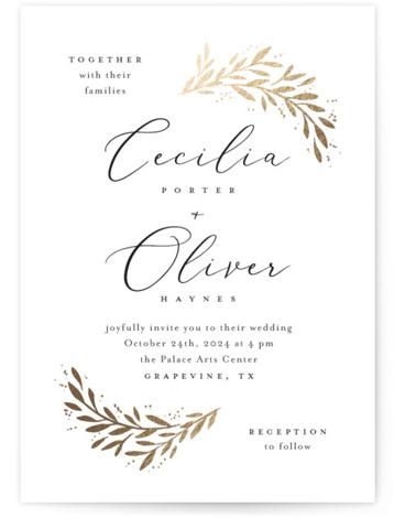 Vine + Pen Foil-Pressed Wedding Invitations