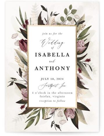 Roses & Greenery Foil-Pressed Wedding Invitations