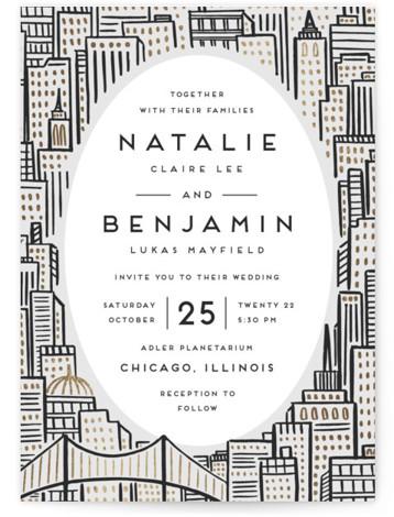 City Foil-Pressed Wedding Invitations