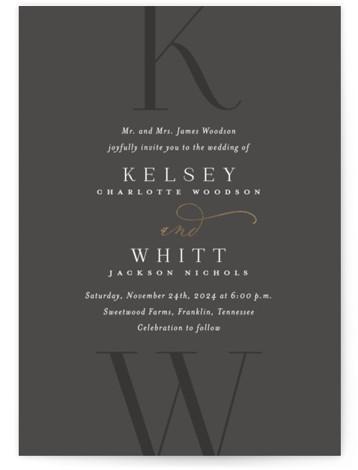 Over Monogram Foil-Pressed Wedding Invitations