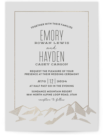 Mountain Vista Foil-Pressed Wedding Invitations