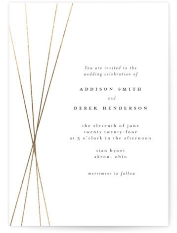 Tied Foil-Pressed Wedding Invitations