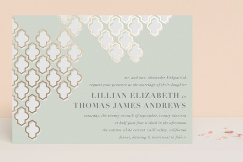 Foiled Arabesque Foil-Pressed Wedding Invitations