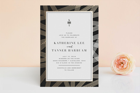 Gold Notes Foil-Pressed Wedding Invitations