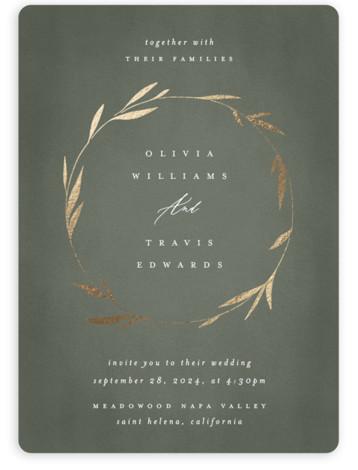 Minimal Circle Foil-Pressed Wedding Invitations