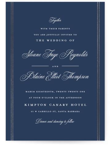 Scripted Stiped Foil-Pressed Wedding Invitations