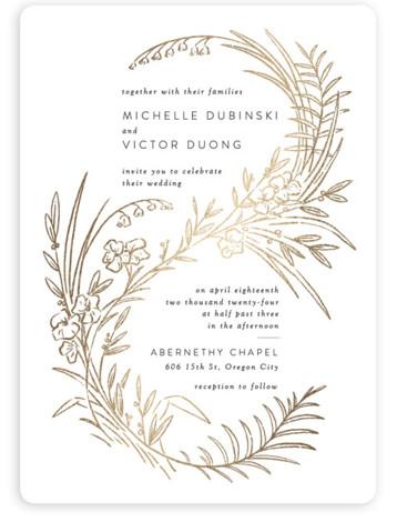 Delicate Woodland Foil-Pressed Wedding Invitations