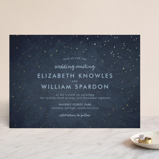 Night In The Forest Foil-Pressed Wedding Invitations