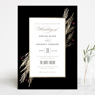 Winter Berry Foil-Pressed Wedding Invitations