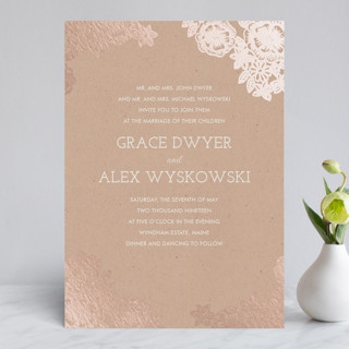 Lace and Kraft Foil-Pressed Wedding Invitations