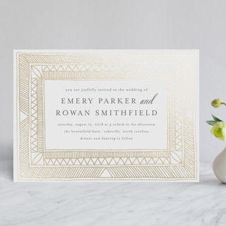 Hand Drawn Gilded Frame Foil-Pressed Wedding Invitations