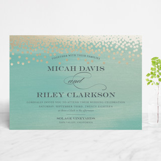 Confetti Foil-Pressed Wedding Invitations
