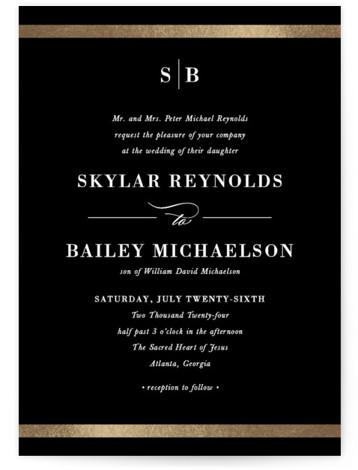 Classic Monogram Foil-Pressed Wedding Invitations