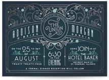 Ornate Deco Foil-Pressed Wedding Invitations