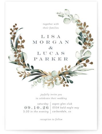 gilded wreath Foil-Pressed Wedding Invitations