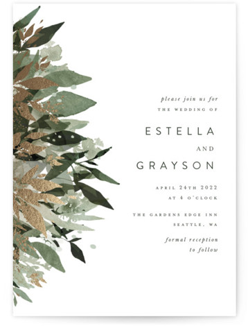 Flourishing Edge Foil-Pressed Wedding Invitations
