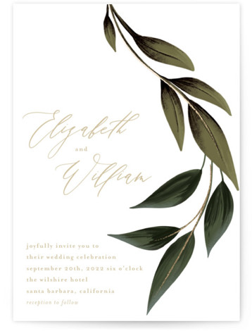 Cascading Vine Foil-Pressed Wedding Invitations