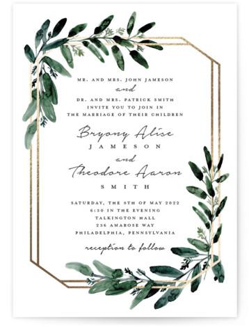 Gilded Eucalyptus Foil-Pressed Wedding Invitations