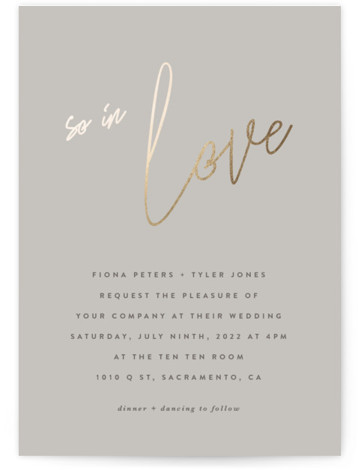 in script Foil-Pressed Wedding Invitations
