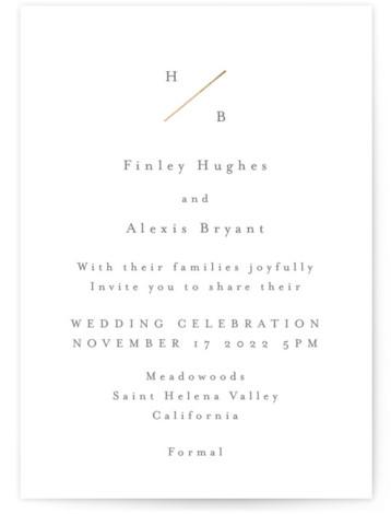 Dashed Monogram Foil-Pressed Wedding Invitations