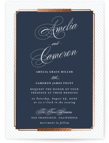 Formal Chic Foil-Pressed Wedding Invitations