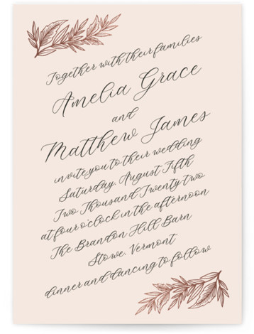 Slanted Script Leaves Foil-Pressed Wedding Invitations