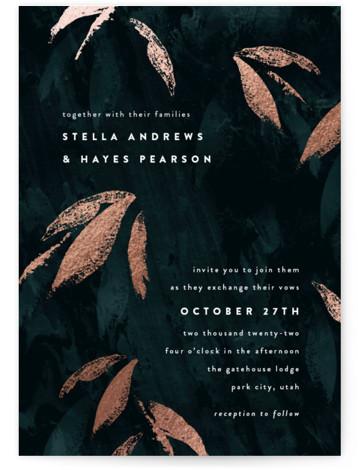 Gilded Woods Foil-Pressed Wedding Invitations