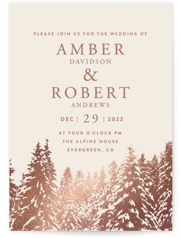 Snowy Pines Foil-Pressed Wedding Invitations