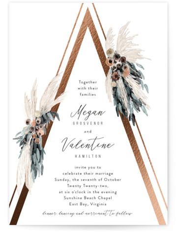 triangle arch Foil-Pressed Wedding Invitations