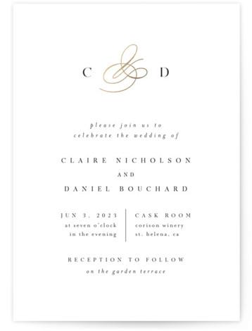 Elegant Monogram Foil-Pressed Wedding Invitations