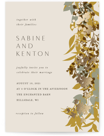 Native Botanical Foil-Pressed Wedding Invitations