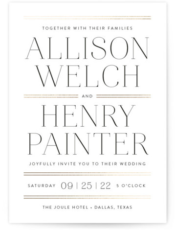 Aligned Foil-Pressed Wedding Invitations