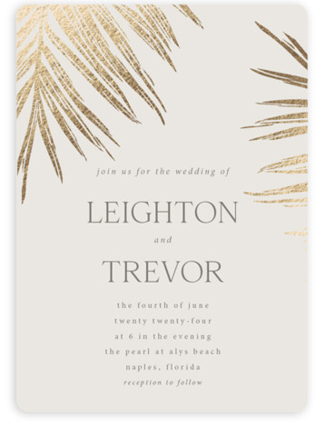 Gilded Palm Foil-Pressed Wedding Invitations
