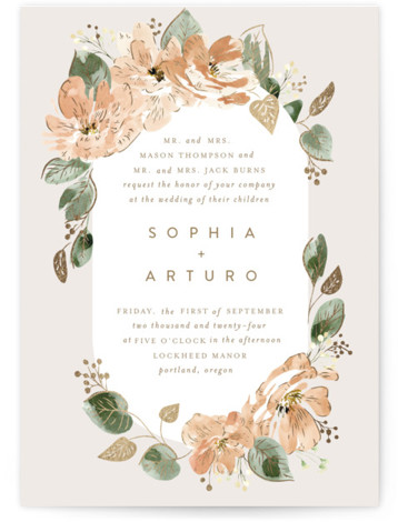 Bloom Foil-Pressed Wedding Invitations