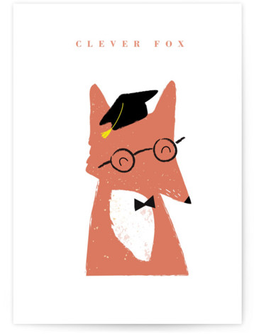 clever fox Individual Graduation Greeting Cards