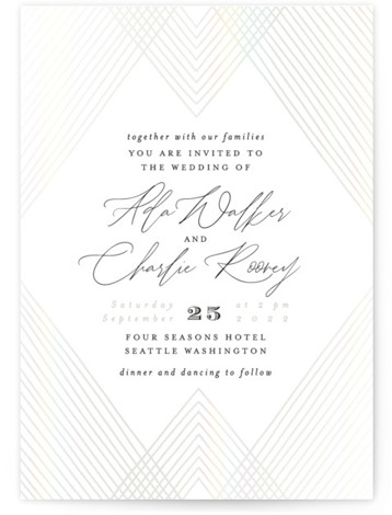 Diamond Criss Cross Gloss Press Wedding Invitations