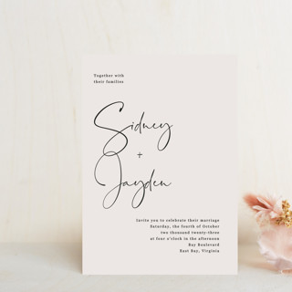 stylist script Wedding Invitation Petite Cards