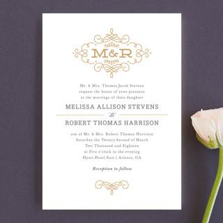 Ornate Monogram Wedding Invitation Petite Cards